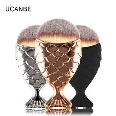 UCANBE Brand Mermaid Foundation Makeup Brushes Set Professional Goldfish Powder Make Up Brush Cosmetic Tools Soft Fiber Hair