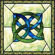 Celtic Knot Square Blue Decorative Window Film