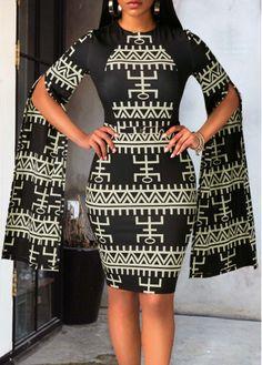 Zipper Back Split Sleeve Printed Dress on sale only US$33.00 now, buy cheap Zipper Back Split Sleeve Printed Dress at liligal.com