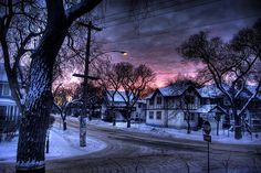 beautiful, city, landscape, pink, snow