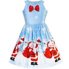 Filles Enfants Santa Belted Noël Père Costume Costume Noël Swing Robe Évasée