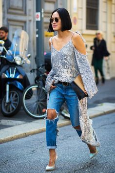 Metallic cold shoulder blouse + distressed denim