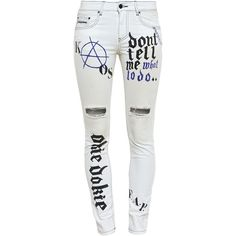 Filles A Papa Graffiti Print Distressed Jeans ($131) ❤ liked on Polyvore featuring jeans, pants, bottoms, pants and shorts, white, ripped skinny jeans, white ripped jeans, destroyed skinny jeans, ripped jeans and distressed denim jeans