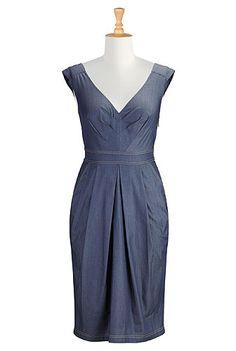 I <3 this Chevron pleat chambray dress from eShakti http://www.eshakti.com/GiftForYou.aspx?ReferralCode=30388