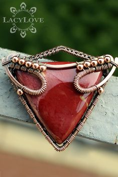 Wire wrapped copper pendant with bright red Mookaite jasper ...S U B S C R I B E... Get latest discounts and news straight to your inbox! - http://lacylove.com.ua/subscribe