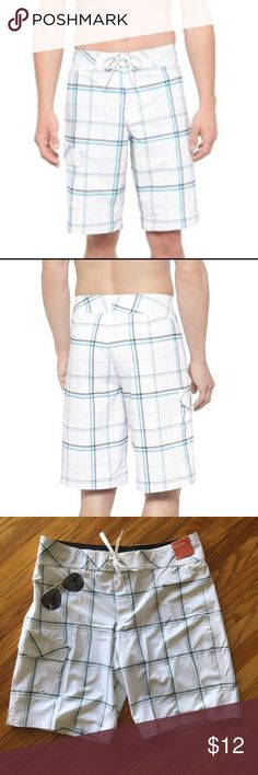 Men's Boardshorts White mens Boardshorts from Mossimo. Gray and blue plaid pattern. Mossimo Supply Co. Swim