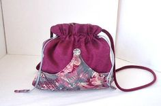 Drawstring pouch/ Pink evening purse/  Romantic pouch/ Fabric