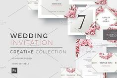 """""""Creative Wedding - Invitation"""" Template perfect to promote your Wedding Event ! The Package includes: Save the Date, Invitation, Menu Card, RSVP, Escort Wedding Cards, Diy Wedding, Wedding Events, Wedding Album, Wedding Templates, Wedding Invitation Templates, Printable Invitations, Invitation Design, Psd Flyer Templates"""