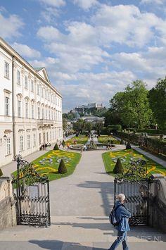 Mirabell Palace, Salzburg, Austria. View at the fortress Hohensalzburg.