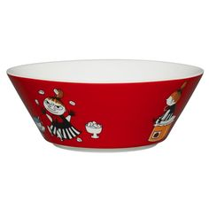 The brave and fearless Little My features this�red coloured�bowl�by Arabia. The design is from the Conscientious Moomin in comic album