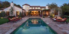 U Shaped House Design Mediterranean Pool