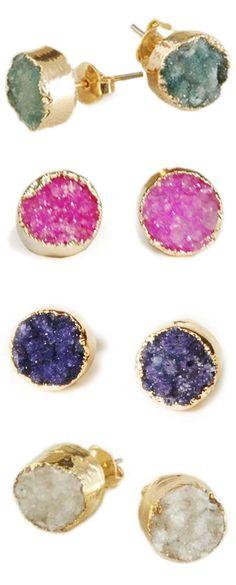 Gold dipped agate druzy earrings | via Uncovet