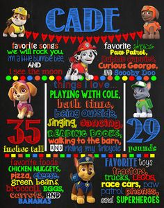Paw Patrol Birthday Chalkboard Poster by VickiTsCreations on Etsy