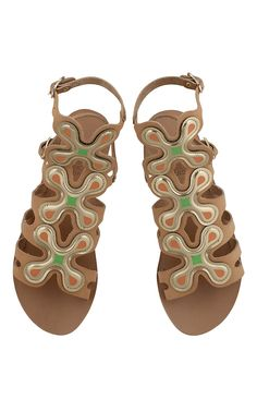 Silicon Flowers Sandal in Natural Vachetta Leather - Ancient Greek Sandals x Peter Pilotto - Preorder now on Moda Operandi