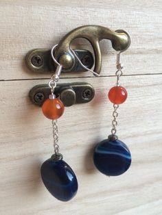 Dark Blue Coin And Orange Agate Round Bead Earrings, Mothers Day Gift, Cheap Gift For Her, Beach Earrings, Clip On Earrings, Chain Earrings by MadeByMissM on Etsy