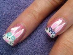 mr and mrs cottontail - Easter bunny nail designs #2014 #easter #nails www.loveitsomuch.com