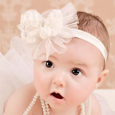 Headband Chiffon and Pearl Bow Baby Headband Color Options        Price: $8.99