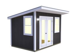 A Backyard Studio/office, fully insulated and wired, is guaranteed to shorten your daily commute. Shed Office, Backyard Office, Backyard Studio, Building A Tiny House, Building A Shed, Midcentury Sheds, 8x8 Shed, Pool Shed, Shed Cabin