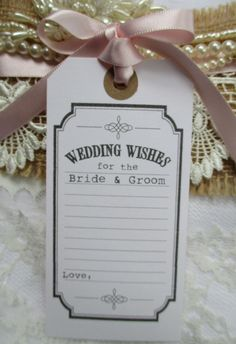 10 Wedding Wishes for the Bride & Groom Vintage Wishing Tree Tags