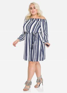 Striped Off-Shoulder Boho Dress-Plus Size Tops-Ashley Boho Dress Plus Size, Plus Size Dresses, Plus Size Outfits, Best Plus Size Clothing, Ashley Stewart, Beautiful Curves, Plus Size Tops, Striped Dress, Shoulder