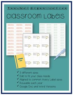 Use these pre-formatted labels to help you and your students stay organized. They are aligned to popular labels and can be printed from your computer. These can be edited to fit your classroom needs. Classroom Labels, Classroom Supplies, Classroom Decor, Supply Labels, Teacher Created Resources, Writers Notebook, Teacher Organization, Student Reading, Teacher Newsletter