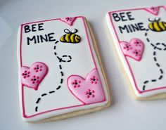 Valentine - Bee Mine - bumble bee and hearts decorated sugar cookies