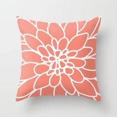 Coral Modern Dahlia Flower Throw Pillow