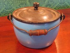 Antique Blue Enamel Graniteware Berry Bucket Wooden Handle & Knob on Lid
