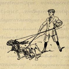 Printable Digital Boy Walking Bulldogs Image Dog Graphic Download Vintage Clip Art. High resolution digital image illustration for iron on transfers, printing, and more great uses. Great for use on etsy items. This digital image is high quality and high resolution at size 8½ x 11 inches. Transparent background version included with every graphic.