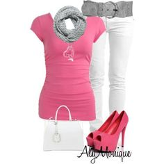 pink and white outfit!! <3