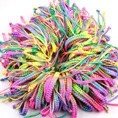 FRIENDSHIP BRACELET Rainbow Charm Neon Colors Neon Bracelets Shamballas Bracelets