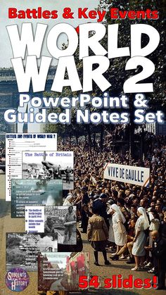 Awesome, PowerPoint and guided notes sheet for ALL of World War 2! 55 amazing slides!