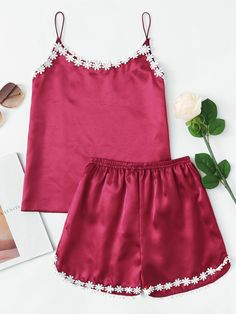 Stagioni Fashion for Women, Loungewear for Women. Item: Crochet Lace Trim Satin Top & Shorts for Women Cute Sleepwear, Sleepwear Women, Romwe, Red Fashion, Fashion Outfits, Crochet Lace, Crochet Flower, Satin Top, Lingerie
