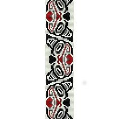 GRIZZLY BEAR HAIDA PATTERN - PEYOTE beading pattern for cuff bracelet