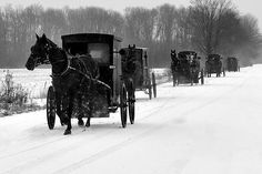 Amish - Not sure if this is PA or Ohio, but certainly a scene you would see on country roads in winter. Amish Country, Country Life, Amish Farm, Country Roads, Country Living, Snow Scenes, Winter Scenes, Black Butler, Amish Family
