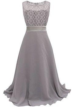 833e23f18f85 Amazon.com  YiZYiF Girls Kids Floral Lace Maxi Long Pageant Wedding Formal Chiffon  Dress Blue 4  Clothing