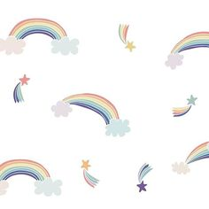 Set of five gorgeous rainbows and six matching shooting stars for your wall. So sweet and fun, for any nursery or child's space! Rainbow Wallpaper, Cool Wallpaper, Iphone Wallpaper, Rainbow Wall Decal, Conversational Prints, Rainbow Print, Interior Design Inspiration, Cute Drawings, Wall Sticker