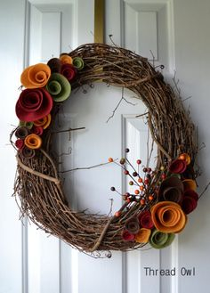Festive Fall Felt Flower Wreath on Etsy, $35.99