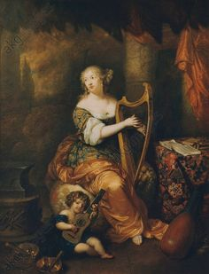 Presumed to be madame de Montespan playing the harp, 1671 by Caspar Netscher (1639-1684)
