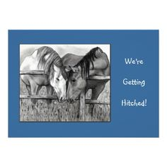 WEDDING INVITE: HORSES, Western: PENCIL