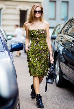 Pair your favorite chunky moto boots with a floral dress for a really playful contrast like Chiara Ferragni.