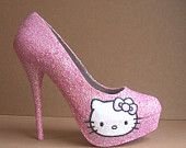 Pink Hello Kitty Glitter High Heels