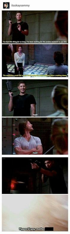 finally he got to use the grenade launcher. T mentioned that he should just use the damn grenade launcher Moments before he whipped the thing out and I got a giggle XD Supernatural Quotes, Supernatural Fandom, Supernatural Season 12, Supernatural Merchandise, Winchester Boys, Winchester Brothers, Destiel, Misha Collins, Jared Padalecki