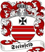 Steinfeld family crest / coat of arms from www.4crests.com #coatofarms #familycrest #familycrests #coatsofarms #heraldry #family #genealogy #familyreunion #names #history #medieval #codeofarms #familyshield #shield #crest #clan #badge #tattoo