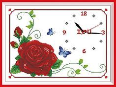 Good Value Cross Stitch Kits Beginners Kids Advanced Flower DreamClock 11 CT 24X17 DIY Handmade Needlework Set CrossStitching Accurate Stamped Patterns Embroidery Home Decoration Frameless ** See this great product.