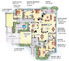 Bungalow Craftsman House Plan 56550.  3750 sf 3 bedroom 2-1/2 bath 1-story with 2 courtyards and 3 car garage.