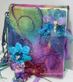 """• How to Make a FUN and FUNKY Felted Journal Cover! This would work for felted kitty or doggie """"beds"""" or what ever you can think of."""