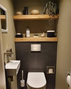 Toilet Room Decor, Small Toilet Room, Guest Toilet, Downstairs Toilet, Bathroom Design Small, Bathroom Interior Design, Small Toilet Design, Wc Set, Recessed Toilet Paper Holder