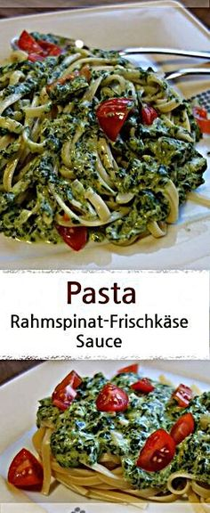 Pasta mit Rahmspinat-Frischkäse-Sauce und Tomaten - MeineStube Recipe for pasta with spinach cream cheese sauce and tomatoes, ideal family meal. Because this pasta dish tastes great for kids and paren