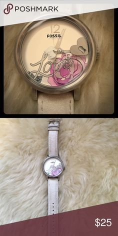 White bubble fossil watch White leather band and cute white bubble face with floating hearts keys and a dove. Fossil Accessories Watches